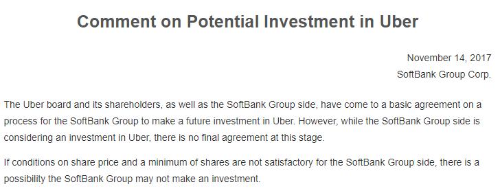 早前,Uber於美�|�r�g11月12日宣布�c由��y�款^的��F敲定一��f�h,董事��批�仕�����I公司的部分股�唷�