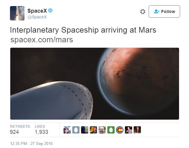 """马斯克详述火星""""殖民""""计划:最早2025年登陆 未来票价降至20万美元"""