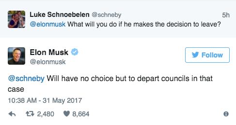 特斯拉CEO:如果特朗普退出巴黎气候协定 我唯一的选择是离开他