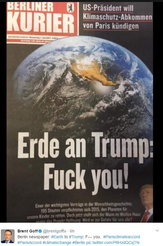 退出巴黎气候协定,特朗普成全民公敌被炮轰