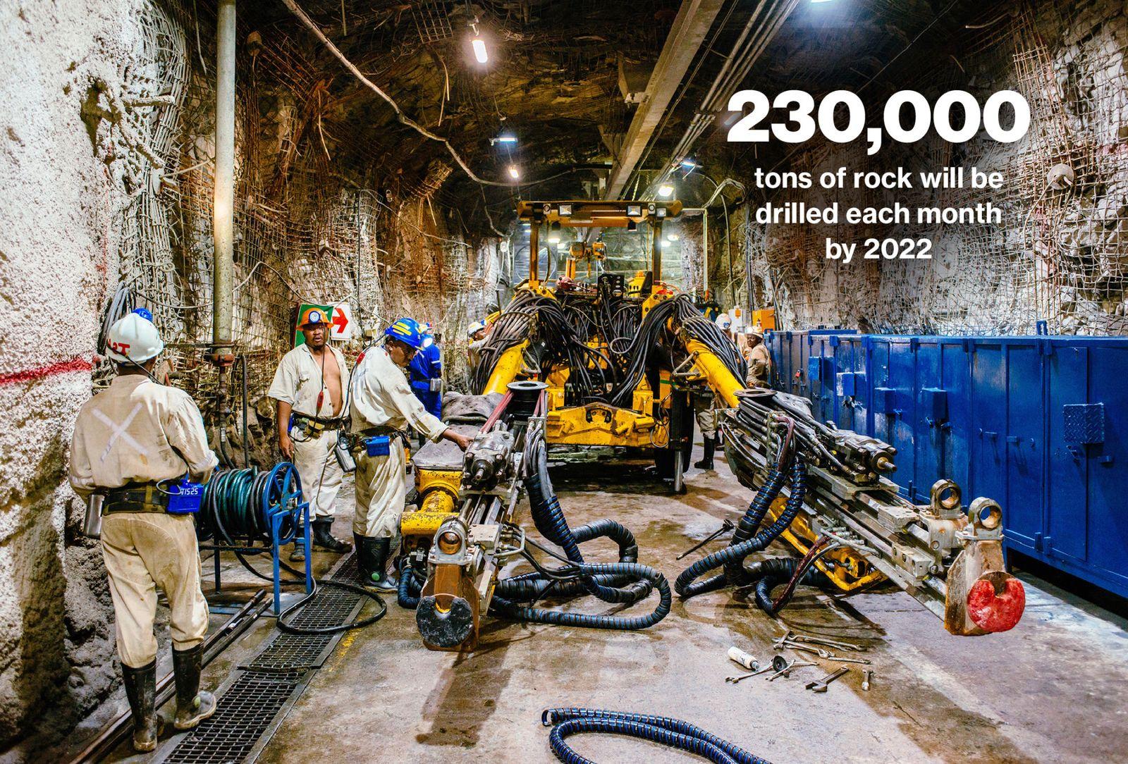Gold Fields公司專門設計了更大的隧道,機器更容易地在礦井移動。 該公司最近改變了開採方式,使用更大、更有效率的挖掘機來節省成本。