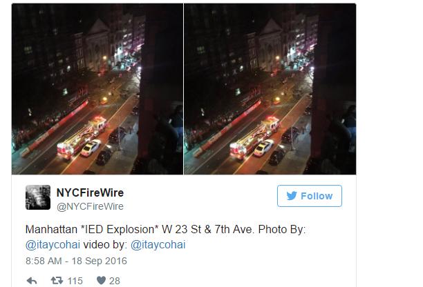纽约爆炸致29人受伤 现场发现疑似爆炸装置