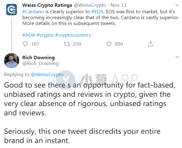 Webster's rating is constantly changing, asserting that Cardano is far stronger than EOS